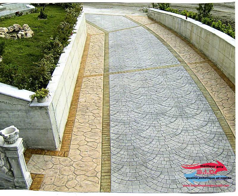Pav ventail b ton imprim d coratif meilleur prix qualite esthetique et rapide for Prix beton imprime